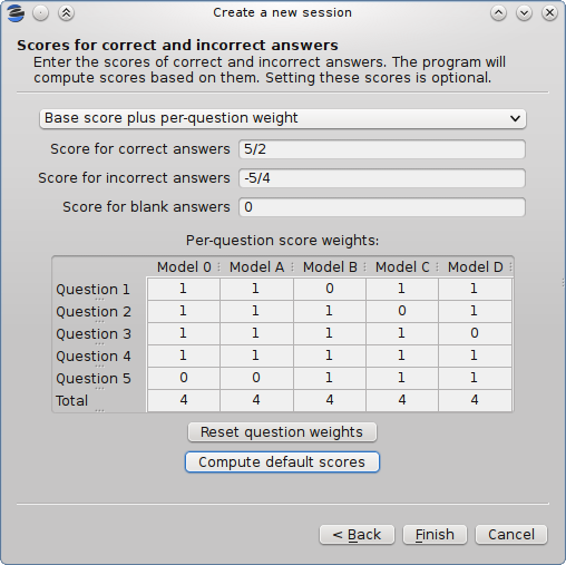 Set weight zero to void a question